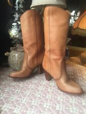 Womens 1970s Made In Brazil Leather Boots Size 8 M