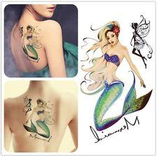 Grand 3D Sirène Mer Nautique Fantasy Tatouage Temporaire étanche
