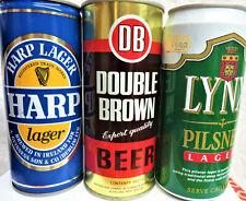 can 3 non-Us Beer 16 oz.Harp Ireland-Double Diamond Uk-Lynx Holand
