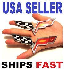 X2 Cross Flags CHEVROLET corvette TRUCK EMBLEM LOGO DECAL SIGN CHROME BADGE car.