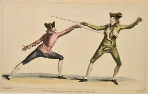 Angelo 1763 L'Ecole des Armes Fechten Fencing Escrime Plate 8 Original print
