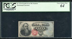 FR. 1376 50 FIFTY CENTS FOURTH ISSUE FRACTIONAL CURRENCY PCGS UNC-64