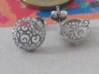 1 paio di basi per orecchini tondi filigrana argento 925 rodiato
