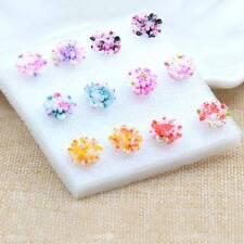 6 Pairs/Set Colorful Resin Daisy Flower Ear Stud Earrings Women Fashion Jewelry