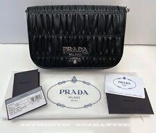 AUTHENTIC Prada Nappa Gaufre 1bd137 nero Black Nappa Leather chain Crossbody BAG