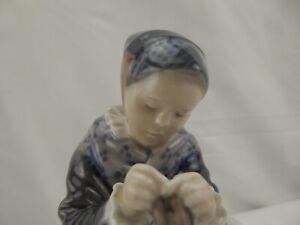 Royal Copenhagen 1314 FL Amager Girl Knitting Sewing