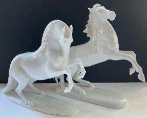 "(2) Rosenthal "" Wild Horse "" Figurines-White -8.75"" Tall"