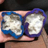 Titanium Rainbow Aura Lemurian Quartz Crystal geode specimen healing 2X
