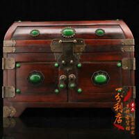 Exquisite Chinese old antique Gem inlay handcarved huanghuali wood case box