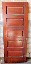 Antique Victorian Interior Five Panel Door - C. 1900 Fir Architectural Salvage