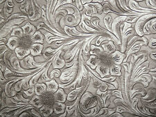 "**VINYL** STONE / WHITE & GRAY Western Floral Faux Leather 18""x27"" #7535"
