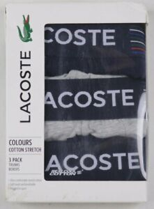 Lacoste Grey Navy Blue Colours Cotton Stretch Trunks Boxers 3 Pack NWT