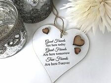 Good Friends Plaque Sign Best Gift Shabby Chic Heart Birthday Christmas S69