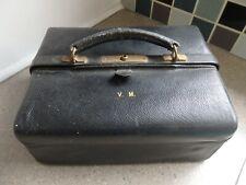 Antique Black Leather Gladstone Vanity Case Silver Gilt London 1929