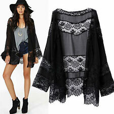 Women's Floral Loose Shawl Kimono Cardigan Chiffon Jacket Blouse Beach Cover Up