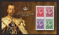 AUSTRALIA 2014-KING GEORGE  V  CENTENARY OF STAMPS 1914-2014  MINI SHEET  MUH