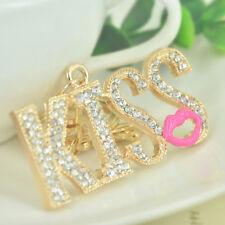 KISS Small Lips Keyring Rhinestone Crystal Keychain Key Bag Chain Christmas Gift