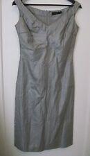 Calvin Klein Collection RRP £ 1200 en gris taupe Sin Mangas Formal Vestido Reino Unido 8-10