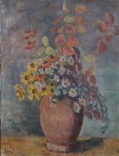 """signiert Krieg """"Blumen in Vase"""" Öl/Leinen, 78x58 cm, älter (207/12006)"""