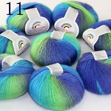AIP Soft Cashmere Wool Colorful Rainbow Shawl DIY Hand Knitting Yarn 50grx8 11