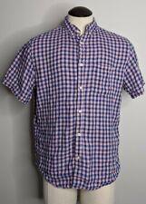 Banana Republic Camden Fit Linen Blue Pink Gingham Short Sleeve Shirt Men's Sz L