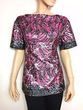 PRADA fuchsia, silver & black banana print boat neck top lurex - blouse 40 It.