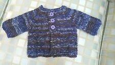 Newborn to 3-Mo Baby Sweater > Navy Blue > Shower Gift > Hand Knit > New