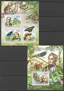 CA1013 2011 CENTRAL AFRICA INSECTS BUTTERFLIES ENTOMOLOGISTS BL+KB MNH STAMPS