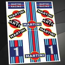 KIT 12 STICKERS ADESIVI VINILE AUTO MOTO CASCO MARTINI RACING DACIA LANCIA D 33