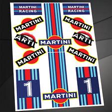 KIT 12 STICKERS ADESIVI VINILE AUTO MOTO CASCO MARTINI RACING DACIA LANCIA D 33