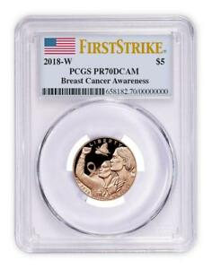 2018 W Breast Cancer Awareness Pink Gold $5 PCGS PR70 DCAM First Strike