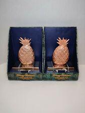 2 Tommy Bahama Christmas Stocking Holder Hanger Pineapple Shape Rose Gold NIB