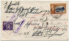 TRINIDAD + TOBAGO 1945 POSTAGE DUE FORWARDED in GB + NOT COLLECTED HS + ADHESIVE