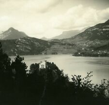 France Haute Savoie Lake Annecy Duingt old Possemiers Stereo Photo 1920