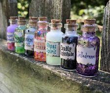 Witchcraft Magic Potion Set of 7 Bottles For Halloween, Ghost Spirit, Nightshade