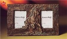 Antique LOOK Metal Running Horse Double Photo Frame 129935