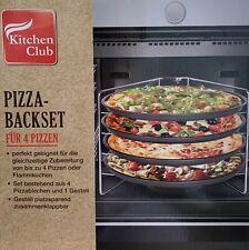 4 * Pizza Backblech Set Pizzablech Klappbar Ständer Flammkuchen Backset Antihaft
