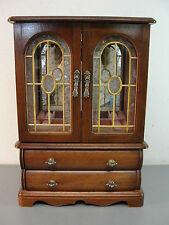TALL WOOD JEWELRY BOX ORGANIZER ARMOIRE CHEST CABINET TEXTURED ARCHED GLASS DOOR