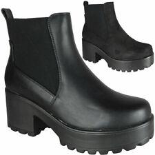 Para mujer tipo Gruesa Damas Chelsea Gótico Punk Tacón Alto Botas Zapatos De Plataforma Talla