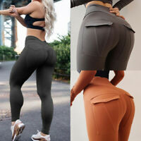 Women PUSH-UP High Waist Sports Pants Yoga Leggings Gym Fitness Jogging Trousers