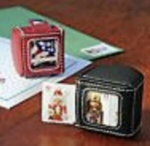 RED LEATHER STAMP DISPENSER HOLDER for Forever Stamps or First Class Stamp Rolls