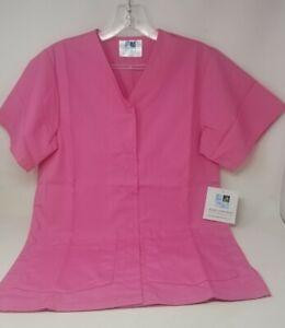 Adar Uniforms Snap Up Scrub Shirt - Women's Pink XS NWT