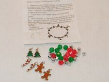 Holiday Charm Bracelet Kids Craft Kit . Christmas Tree Gingerbread Man CandyCane