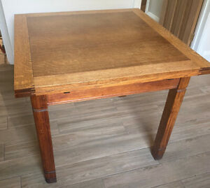 Edwardian square extendable dining table oak