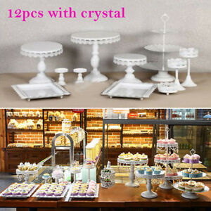3/6/912pcs/set Display White PartyTrays Cupcake Stand Crystal Cake Holder