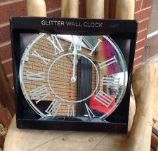 Mirrored Sparkly Silver Glitter Wall Clock ROMAN NUMERALS Mirror Round 35cm