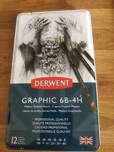 Derwent Graphic Soft Graphite Pencils 6B 4H x 12 pencils NEW