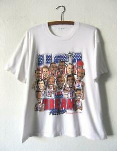 Vintage Dream Team Usa Caricature T-shirt Unisex Basketball Tee Size S-3XL