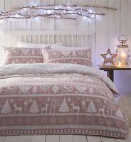 Festive Nordic Scandi 100% Brushed Cotton Blush Pink Duvet Cover Bedding Throw