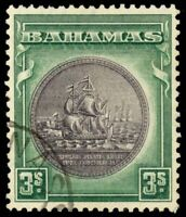 Bahamas 1931 3sh DEEP GREEN & SLATE PURPLE USED 91a CV$35.00